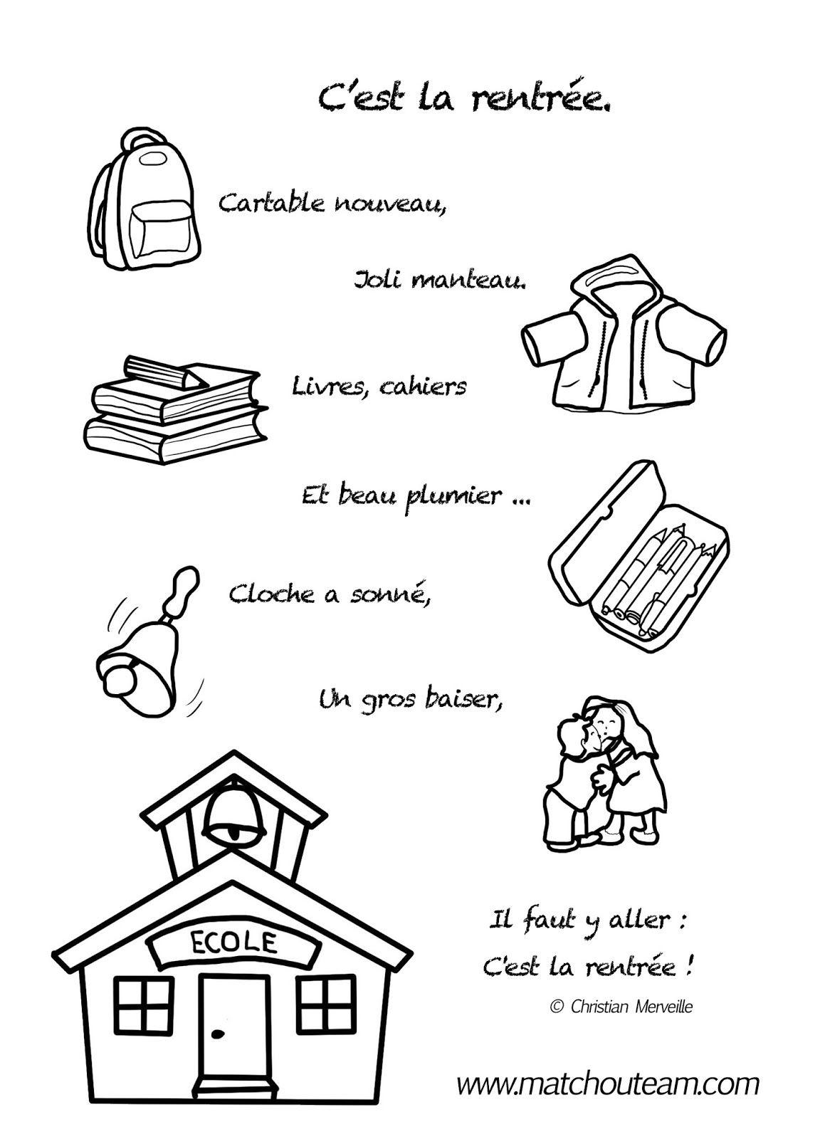 C'Est La Rentrée! Le Mini Livre À Colorier | Comptine destiné Cahier De Coloriage À Imprimer Maternelle