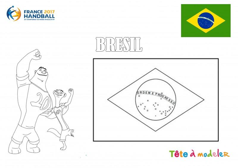 Championnat Du Monde De Handball - Coloriage Brésil pour Drapeau Brésil À Colorier