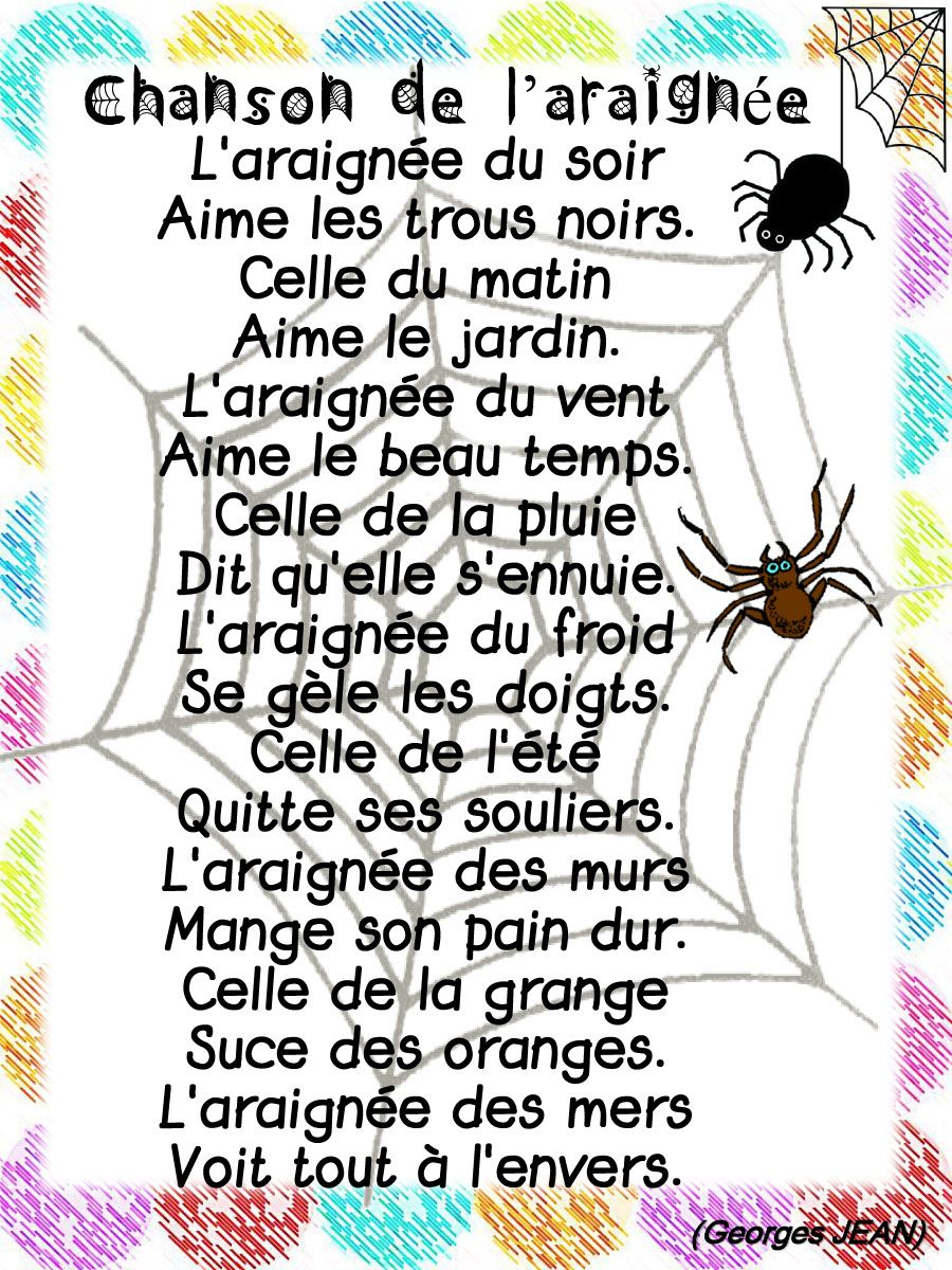 Chanson De L'Araignée (Georges Jean) - Lacatalane.pdf destiné Comptine Du Soir