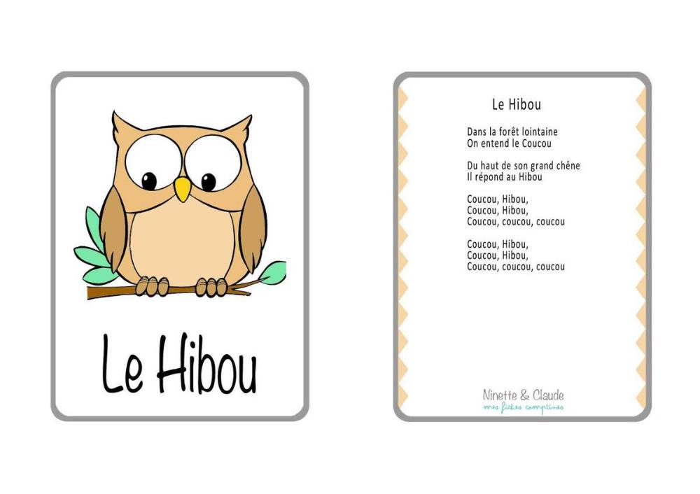 Chanson Hibou Maternelle – Recherche Google | Coucou Hibou intérieur Comptine Coucou Hibou