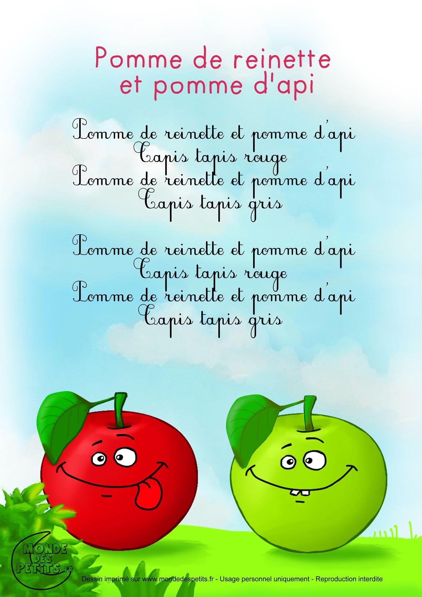 Chanson Pomme De Reinette Et Pomme D Api - Jobstips avec Pomme De Renette
