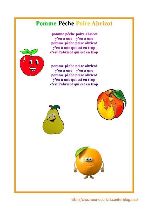 Chanson Pomme Pêche Poire Abricot | Abricot, Poire, Pomme tout Pomme D Api Chanson