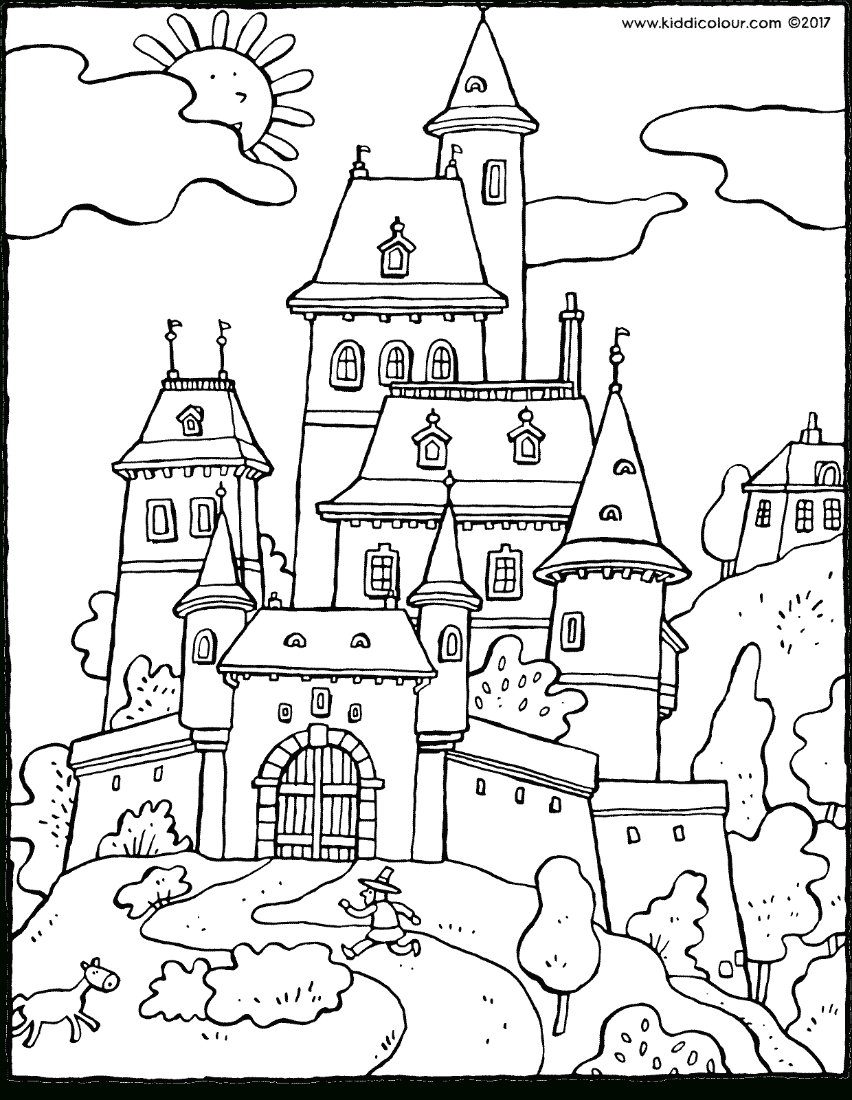 Châteaux Kleurprenten - Kiddicoloriage serapportantà Coloriage Chateau Hanté
