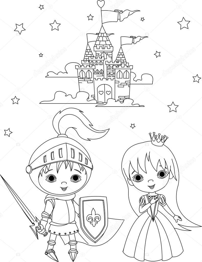 Chevalier Médiéval Et Princesse Coloriage — Image à Dessin Chateau Moyen Age