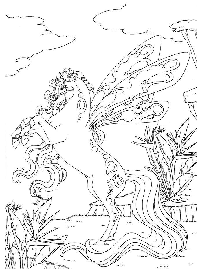 Chevaux-Magiques-Papillon (691×935) | Ausmalbilder concernant Coloriage À Imprimer De Cheval