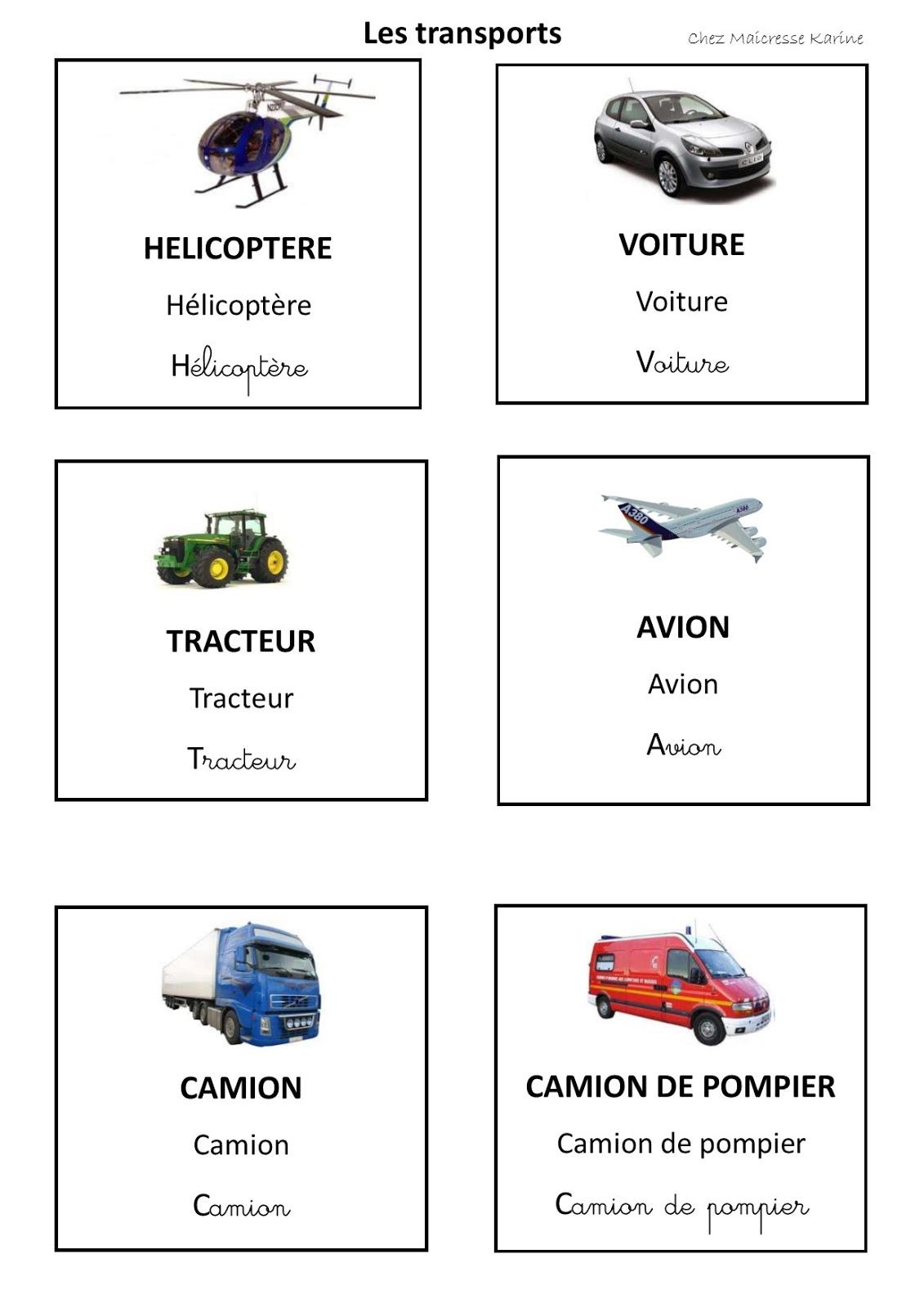 Chez Maicresse Karine: Cartes De Nomenclature Les Transports dedans Maicresse Karine