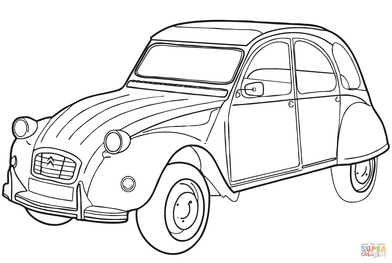 Citroën 2Cv   Super Coloring   Dessin Voiture Facile destiné Image De Voiture A Imprimer