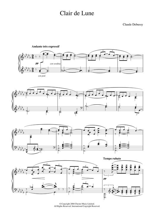Clair De Lune (From Suite Bergamasque) Sheet Music By serapportantà Clair De Lune Debussy