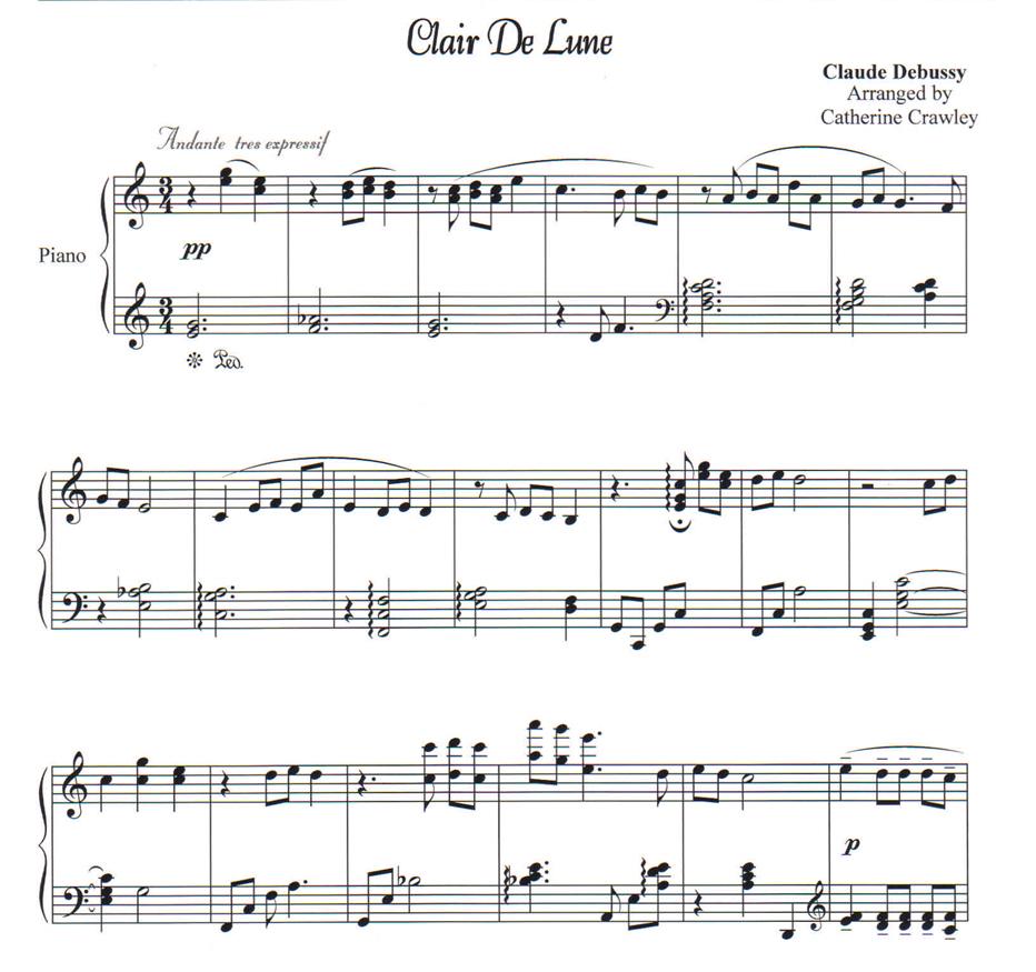 Clair De Lune | Piano Lessons By Cathy Crawley | Pensacola pour Clair De Lune Debussy