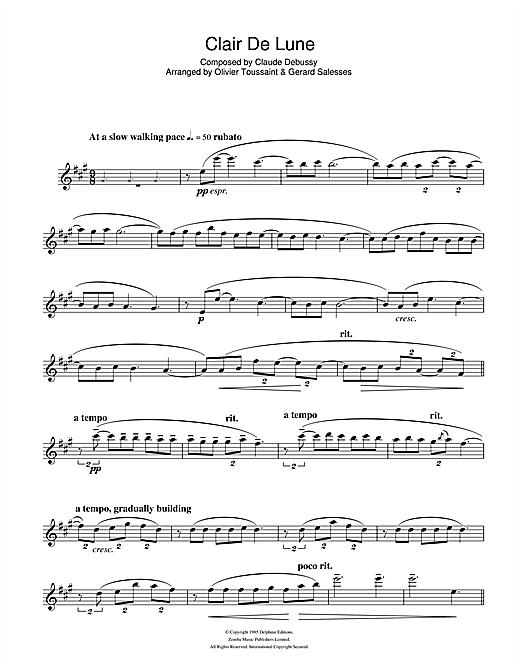 Clair De Lune Sheet Music By Claude Debussy (Alto tout Clair De Lune Debussy