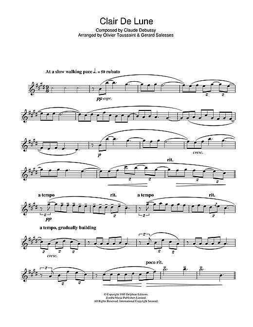 Clair De Lune Sheet Music By Claude Debussy (Clarinet destiné Lyrics Oh Clair De La Lune