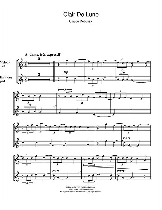 Clair De Lune Sheet Music By Claude Debussy (Soprano tout Clair De Lune Debussy