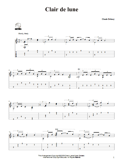 Clair De Lune Sheet Music | Claude Debussy | Solo Guitar Tab concernant Clair De Lune Debussy