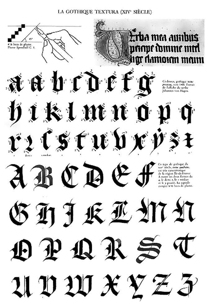 Claude-Mediavilla-Calligraphie-Gothique-Texturaxiv pour Lettre Majuscule Tag