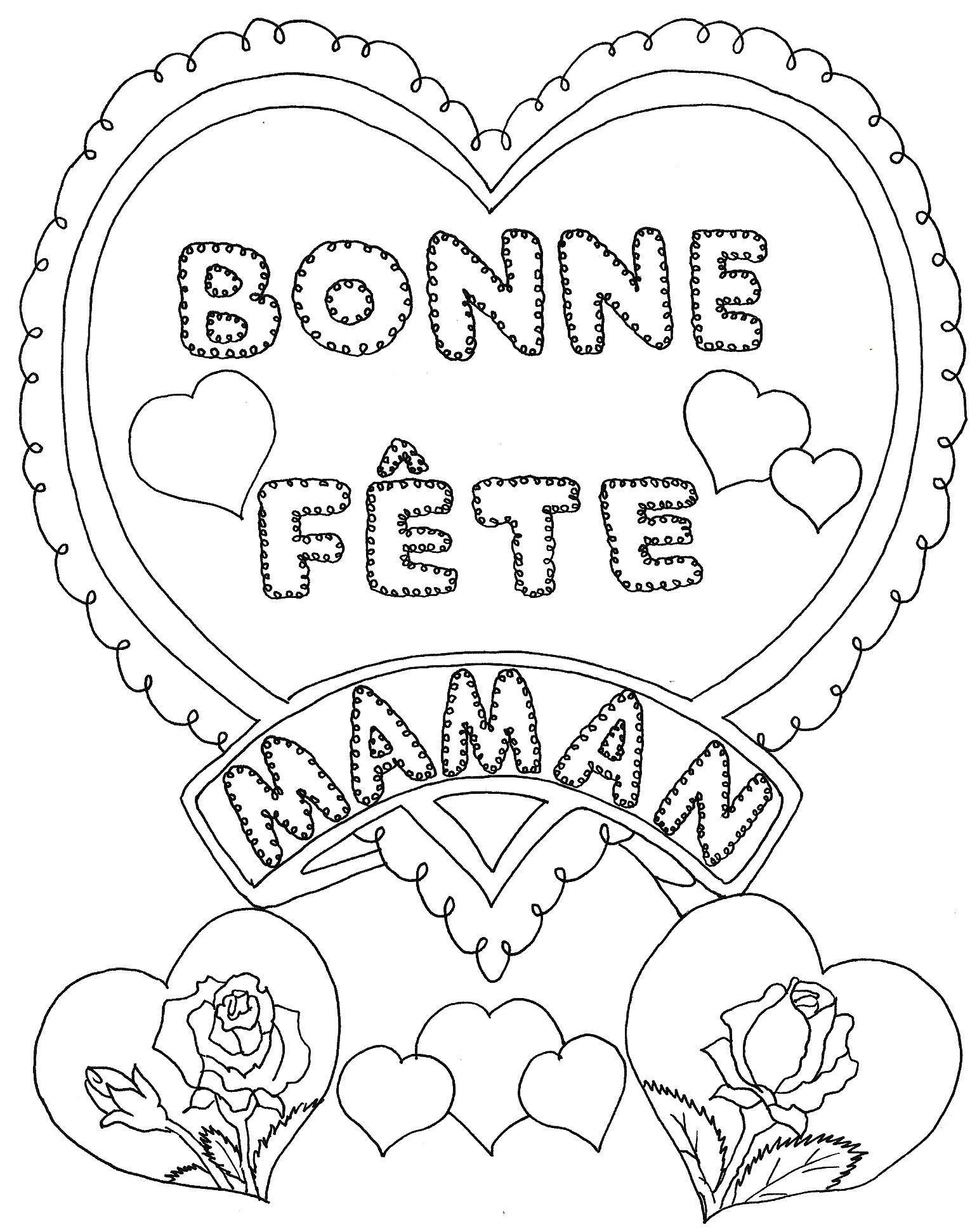 Coeur : Bonne Fête Maman À Colorier - Dessin Pour La Fete dedans Coloriage Fete Des Maman A Imprimer