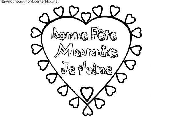 Coeur Bonne Fête Mamie, Coloriage Et En Coleur dedans Coloriage Bonne Fete Mamie