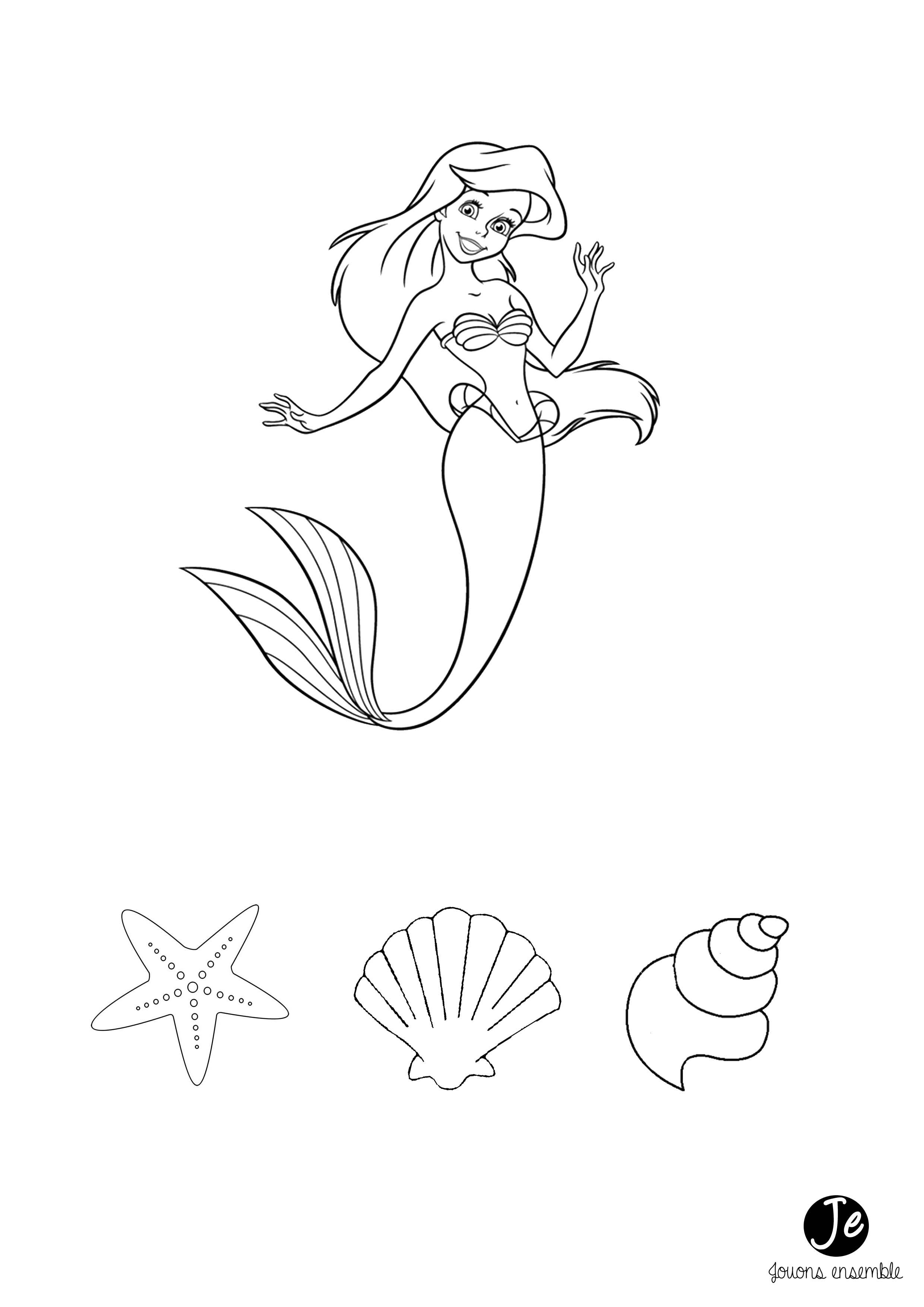 Collier Ariel La Petite Sirène Disney | Jouonsensemble destiné Dessin A Imprimer Arielle La Petite Sirene