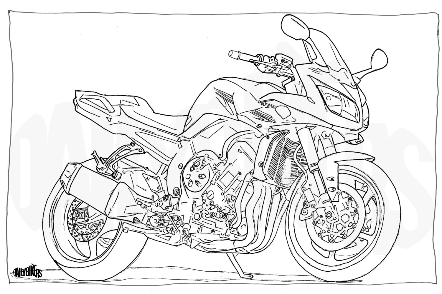 Coloration Adulte Page Moto Illustration Coloriage Moto encequiconcerne Coloriage Moto