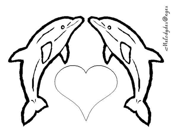 Coloriage/ 2Dauphins-Coeur - Coloriage De Coeur dedans Dauphin Dessin À Colorier