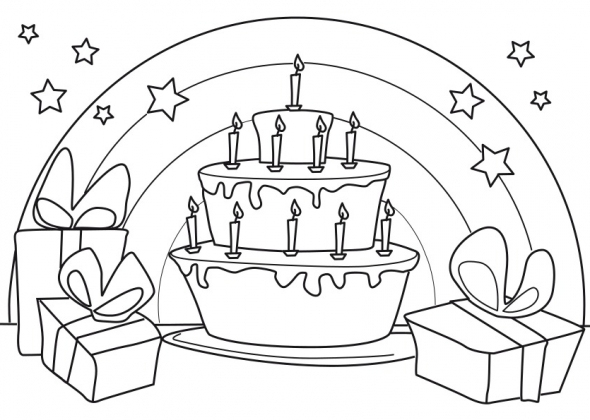 Coloriage 3-6 Ans Gâteau Anniversaire 10 Ans pour Coloriage Anniversaire 7 Ans