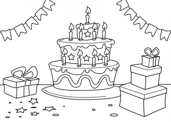 Coloriage 3-6 Ans : Gâteau Anniversaire 9 Ans intérieur Gateau Anniversaire À Colorier
