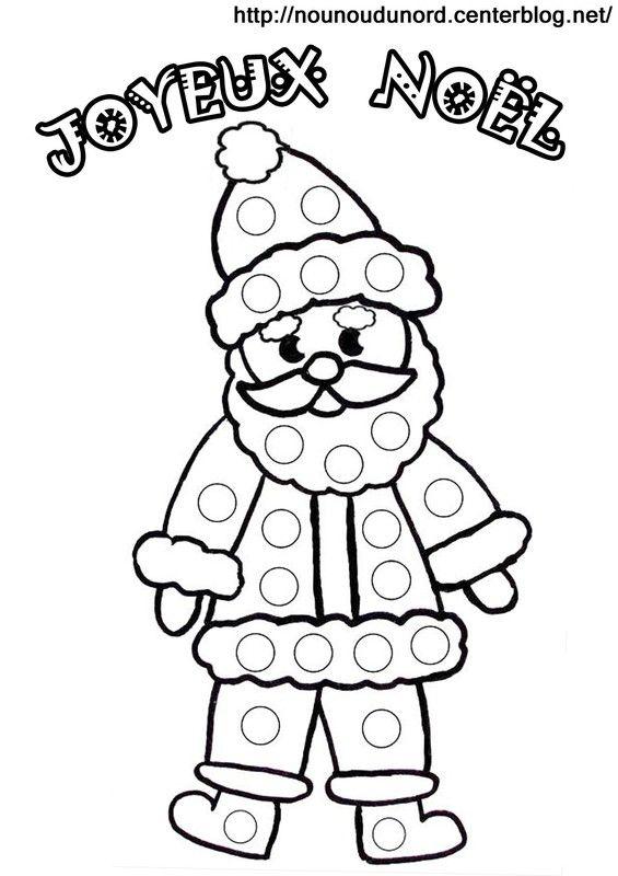 Coloriage À Gommettes Le Père Noël destiné Image De Pere Noel Gratuite A Imprimer