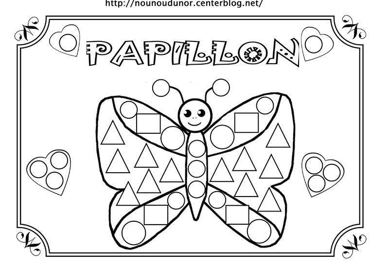 Coloriage A Gommettes - Page 4 pour Dessin Petit Papillon