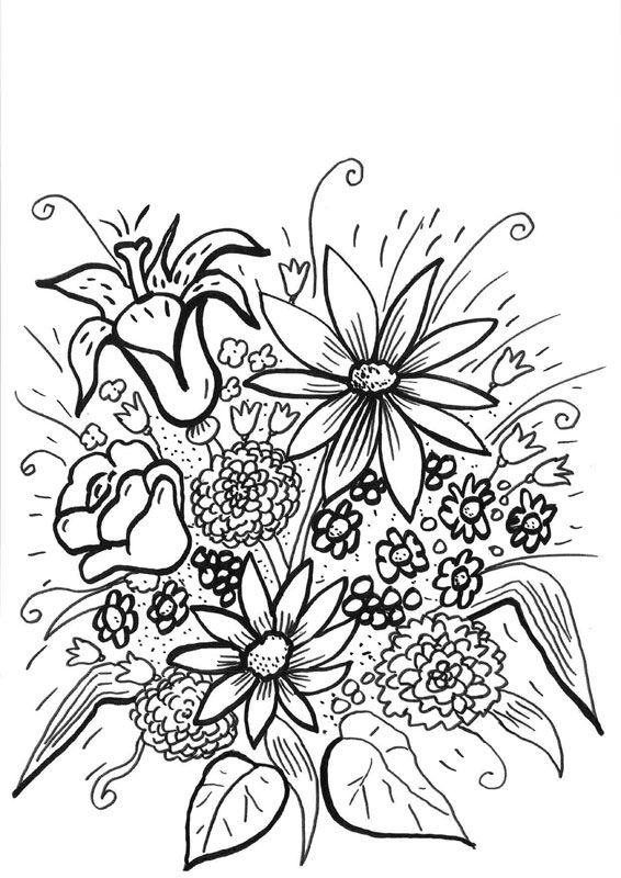 Coloriage À Imprimer : Bouquet De Fleurs Fraîches pour Coloriage Bouquet De Fleurs A Imprimer