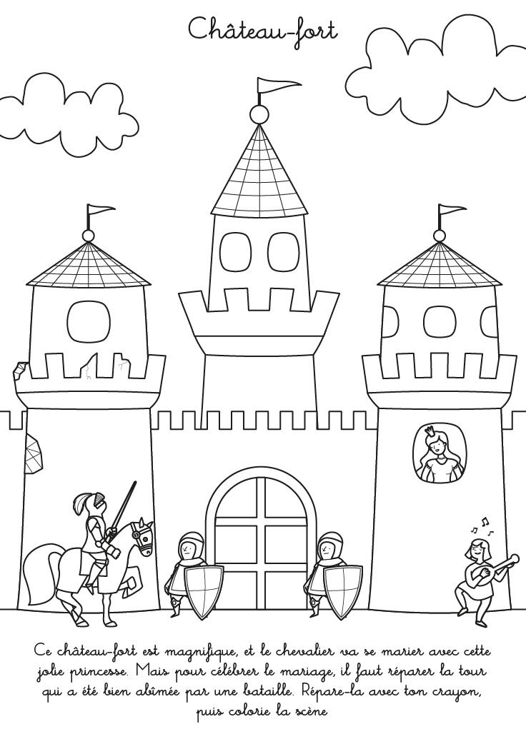 Coloriage À Imprimer : Château-Fort encequiconcerne Coloriage Chateau Princesse