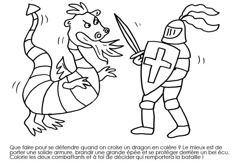 Coloriage À Imprimer : Chevalier Face Au Dragon dedans Coloriage Chevalier À Imprimer