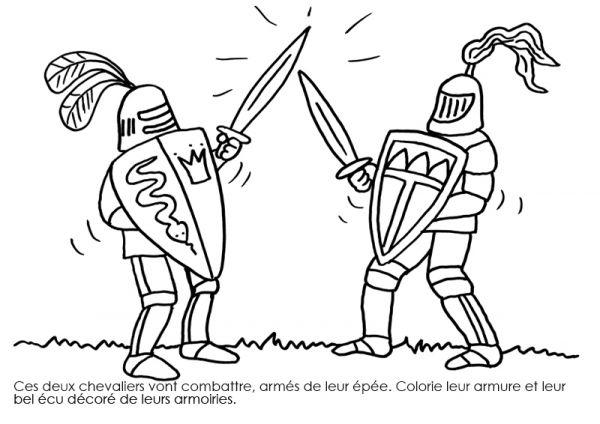Coloriage À Imprimer : Chevaliers Combattant À L'Épée dedans Coloriage Épée