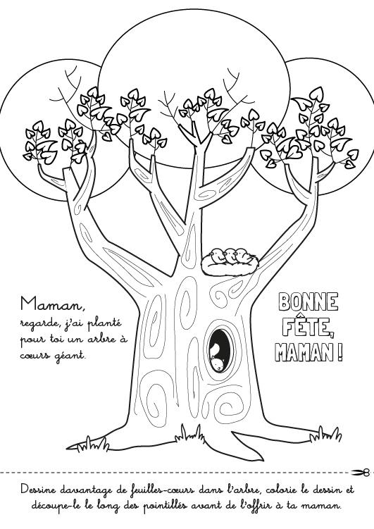 Coloriage À Imprimer Fête Des Mères : Un Arbre À Coeurs encequiconcerne Coloriage De Fête Des Mères À Imprimer