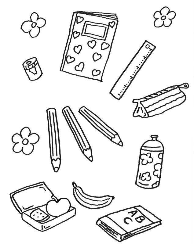 Coloriage À Imprimer : Imagier Du Cartable D'École tout Cartable Coloriage