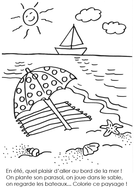 Coloriage À Imprimer : L'Été Au Bord De La Mer intérieur Coloriage Vacances A Imprimer Gratuit