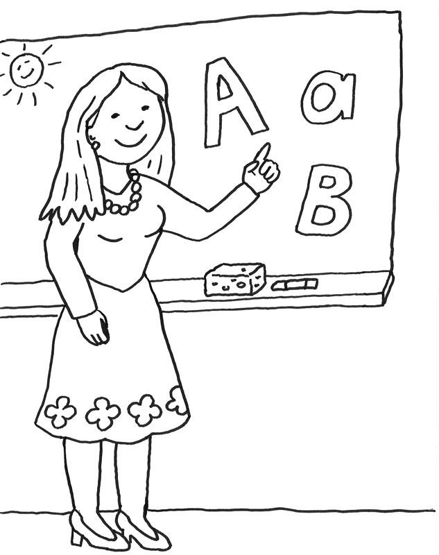 Coloriage À Imprimer : Maîtresse D'École concernant Coloriage D Une École