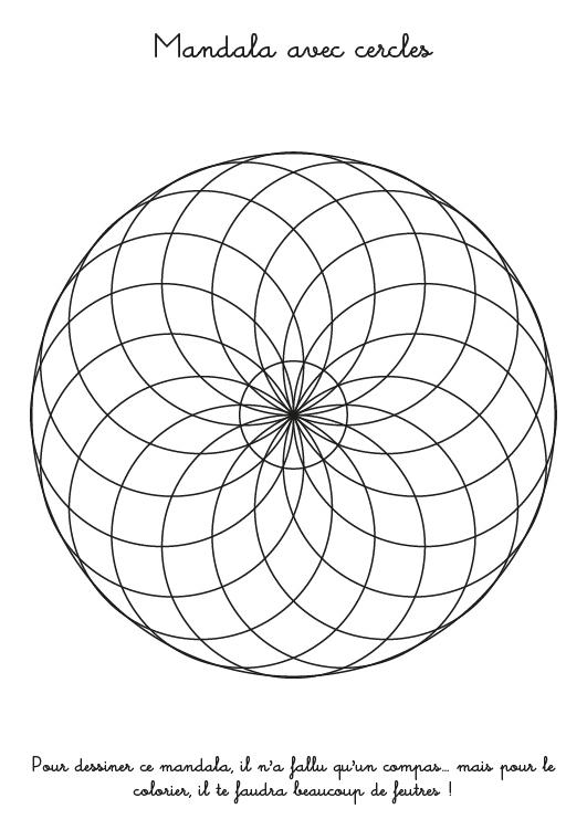 Coloriage À Imprimer : Mandala Avec Des Cercles pour Mandala A Dessiner
