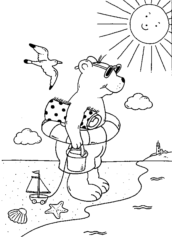Coloriage À Imprimer : Ours En Vacances À La Plage tout Coloriage Vacances A Imprimer Gratuit
