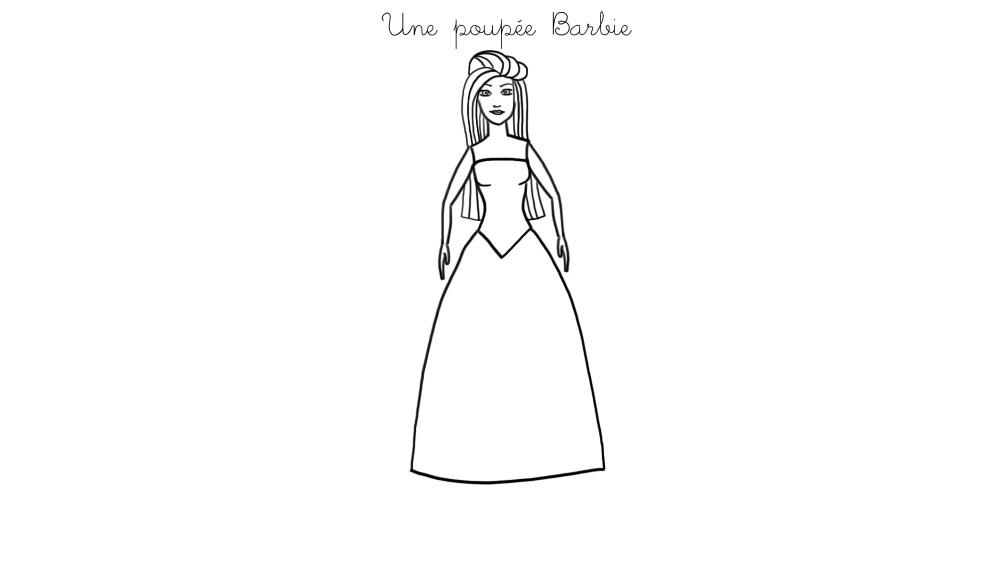 Coloriage À Imprimer : Une Poupée Barbie avec Dessin De Barbie Facile