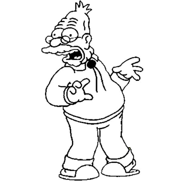 Coloriage Abraham Simpson En Ligne Gratuit À Imprimer avec Coloriage Simpson A Imprimer Gratuit