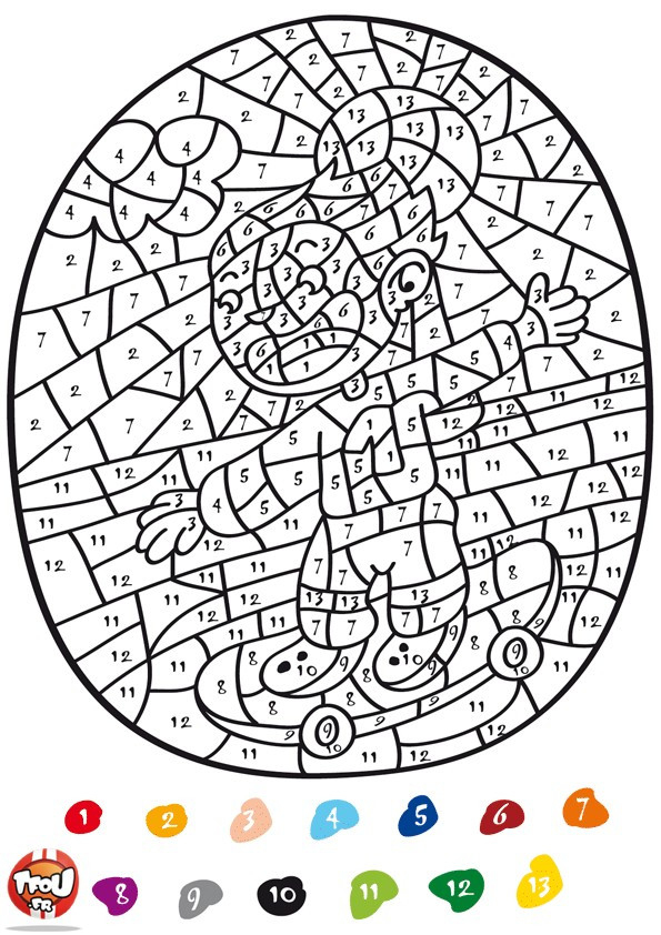 Coloriage Addition Magique Skateur Dessin Gratuit À Imprimer avec Coloriage Magique Avec Addition A Imprimer