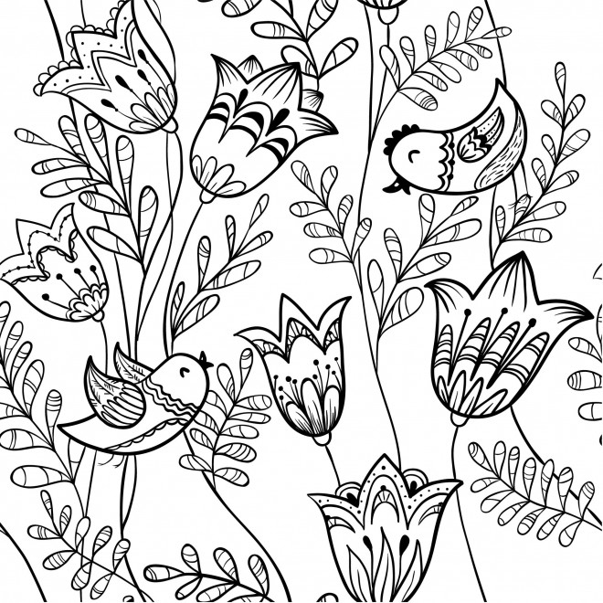 Coloriage Adulte Fleurs Lotus Et Oiseaux Dessin Gratuit À serapportantà Coloriage A Imprimer Paysage Nature