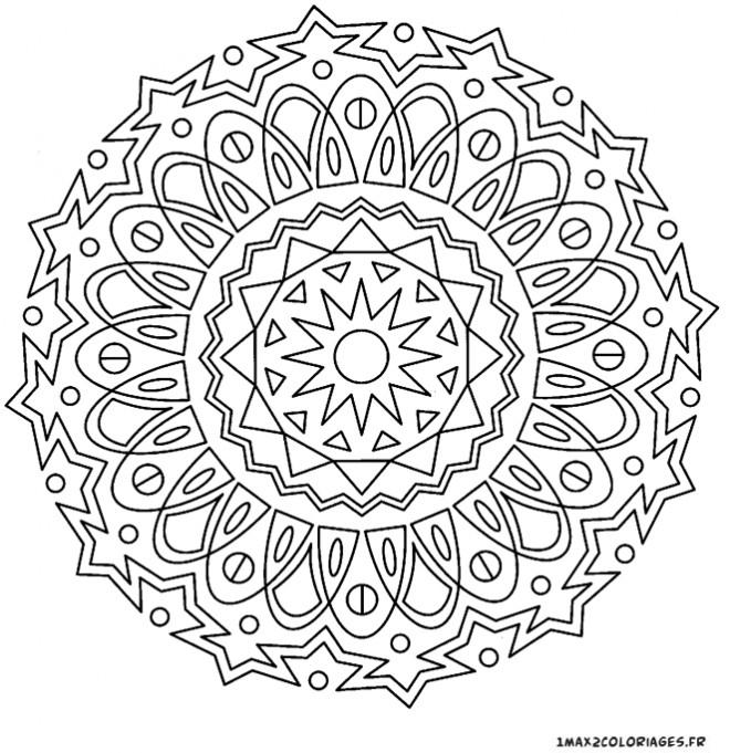 Coloriage Adulte Mandala Stylisé Dessin Gratuit À Imprimer serapportantà Dessin Tres Dur