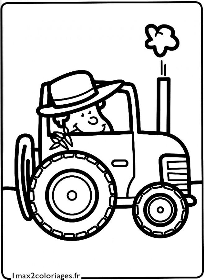 Coloriage Agriculteur Dans Le Tracteur Dessin Gratuit À concernant Coloriage De Tracteur À Imprimer
