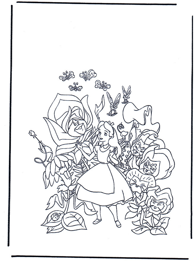 Coloriage Alice Au Pays Des Merveilles Entouré Des Fleurs à Coloriage Alice Au Pays Des Merveilles A Imprimer Gratuit