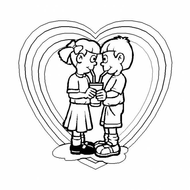 Coloriage Amour Entre Enfant Dessin Gratuit À Imprimer tout Dessin Damour