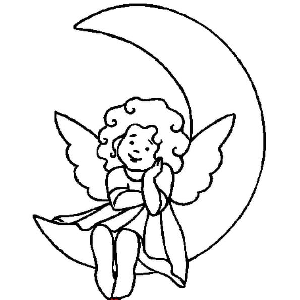 Coloriage Ange Sur La Lune En Ligne Gratuit À Imprimer à Dessin Ange De Noel