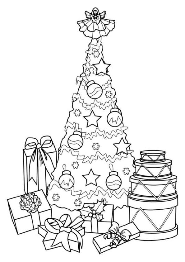 Coloriage Ange Sur Sapin De Noël Dessin Gratuit À Imprimer tout Sapin De Noel Avec Cadeaux
