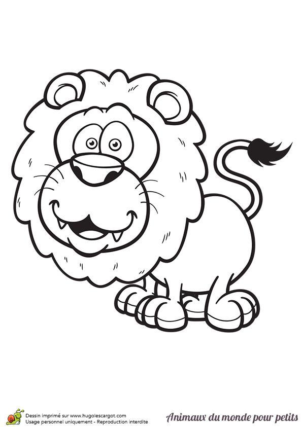 Coloriage Animaux Du Monde Lion (Avec Images)   Coloriage tout Lion Dessin Enfant