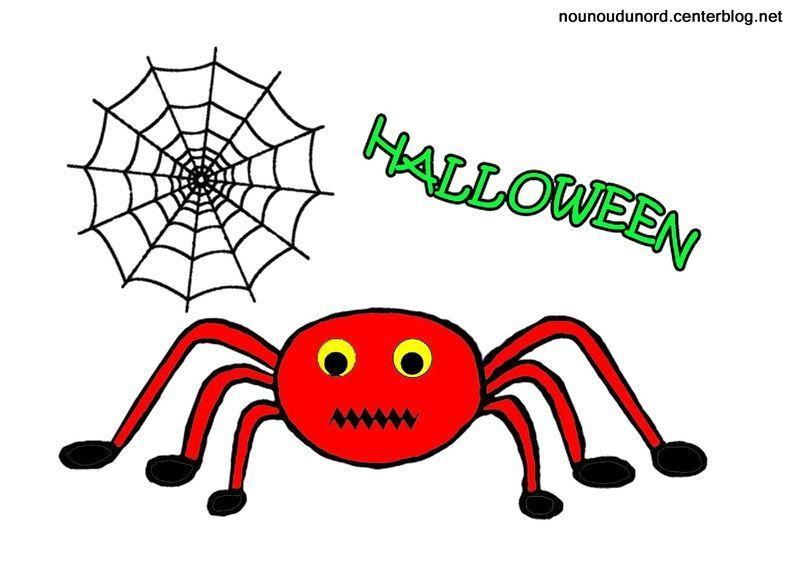 Coloriage Araignée D'Halloween avec Dessin Araignée Facile