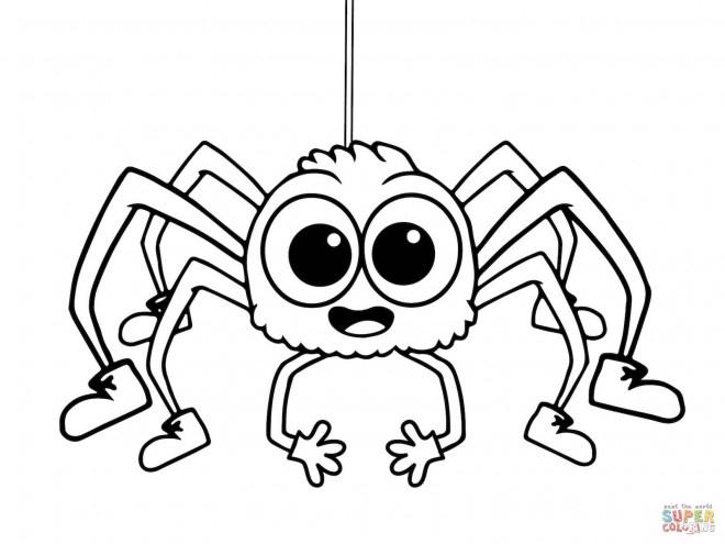 Coloriage Araignée Qui Fait Rire Dessin Gratuit À Imprimer concernant Dessin Araignée Facile